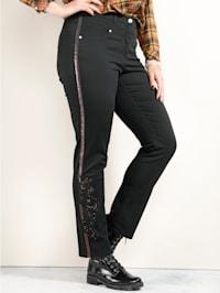 Pantalon avec éléments fantaisie aux jambes