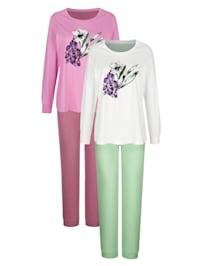 Schlafanzüge im 2er-Pack mit großem Blumendruck