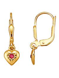 Herz-Ohrringe mit Rubinen