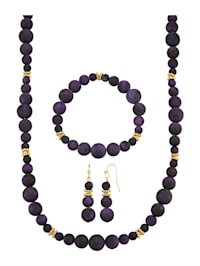 3-delige sieradenset van blauwe tijgerogen (beh.)