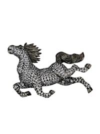 Pferd-Brosche mit Weißtopasen