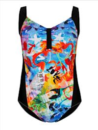 Badeanzug im modischen farbenfrohen Druck