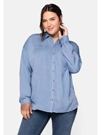 Bluse aus Lyocell mit Hemdkragen