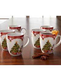 Lot de 6 tasses à café 'Magie de Noël'