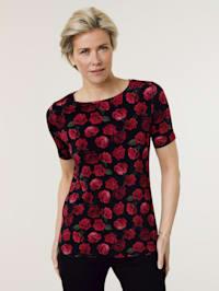 T-shirt à imprimé de roses aux coloris éclatants