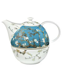 Teekanne mit Stövchen Vincent van Gogh - Mandelbaum blau