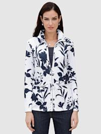 Tričkový kabátek s řasením na stojatém límci