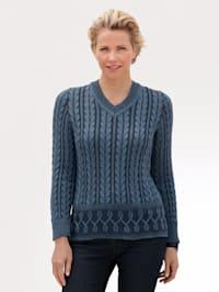 Pullover mit Kontraststrick-Elementen