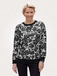 Sweatshirt med blomsterprint