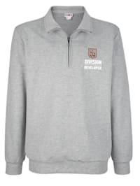Sweatshirt med krage och kort dragkedja