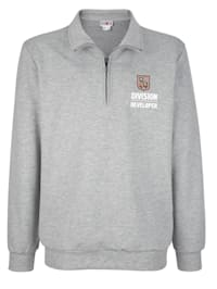 Sweatshirt mit Stickerei und Druckmotiv