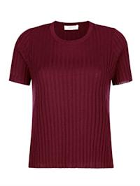 Ribbstickad tröja med kort ärm
