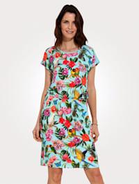 Jersey jurk met inzetten van netmateriaal