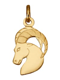 "Pendentif avec signe du zodiaque ""Capricorne"" en or jaune 750"