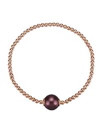 Armband 925/- Sterling Silber Muschelkernperle bordeaux 18cm Glänzend
