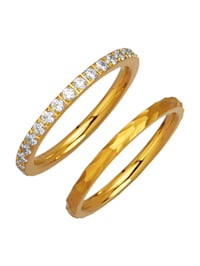 2 dielna súprava prsteňov so syntetickými zirkónmi