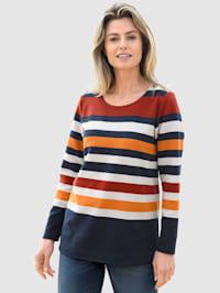 Sweatshirt met brede strepen