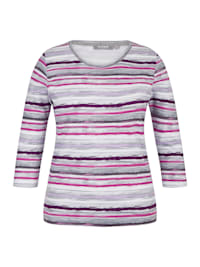 Shirt mit gestreiftem Muster und 3/4-Ärmeln