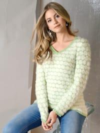 Pullover in zweifarbigem Rauten-Dessin