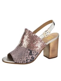 Sandaletter med skimrande och ormskinnsmönstrat skinn