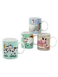 Set van 4 koffiemokken Farm Animals