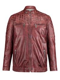Kožená bunda v modernom obnosenom štýle