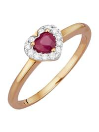 Sydänsormus – rubiini ja timantteja