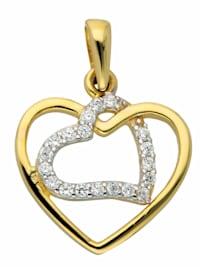 1001 Diamonds Damen Goldschmuck 333 Gold Anhänger Herz mit Zirkonia