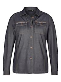 Bluse mit unifarbenem Stoff und Knopfleiste