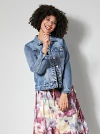 Jeansjakke med dekorativt bakstykke