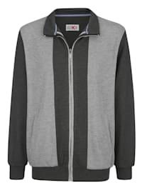 Sweatshirtjacka med kontrasterande infällningar