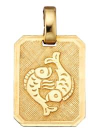 Pendentif signe du zodiaque Poissons en or jaune