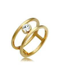 Ring Doppelring Solitär Kristalle 925 Silber