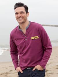 Shirt met contrastkleurige opstaande kraag