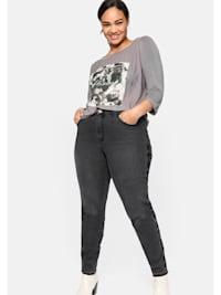 Jeans mit Stickereien seitlich am Bein