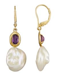 Boucles d'oreilles avec perles de Keshi