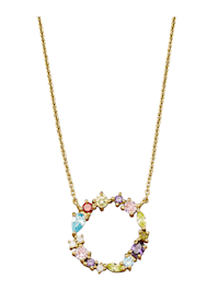 Collier Letter O met multicolor synth. zirkonia's