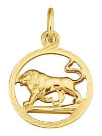 Pendentif Signe du zodiaque Lion en or jaune 375