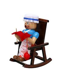 Holz Räucherfrau Oma im Schaukelstuhl