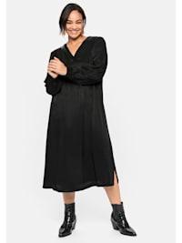 Kleid mit Lederimitatbesatz