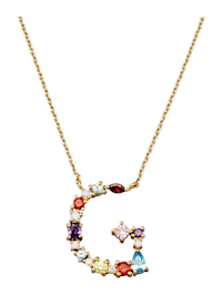 Collier Letter G met multicolor synth. zirkonia's