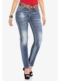 Jeanshose mit kontrastfarbenen Nähten