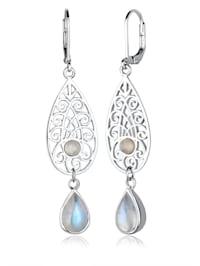 Ohrringe Tropfen Ornament Orientalisch Mondstein 925 Silber