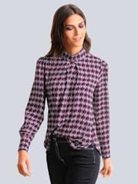 Bluse med grafisk mønster