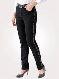 Jeans mit kupferfarbenen Galonstreifen