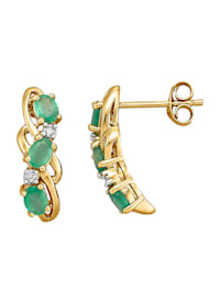 Boucles d'oreilles avec émeraudes et diamants