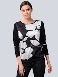 Shirt mit exklusivem Druck-Dessin von Alba Moda