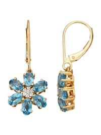 Örhängen - blommor med blå topaser