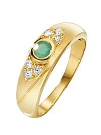 Damenring mit Smaragd und Saphiren