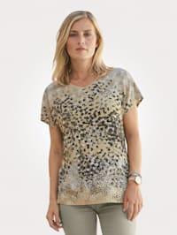 Shirt met stippenprint in aquarellook